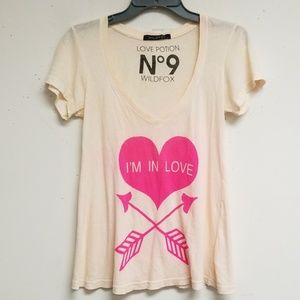 Wildfox Peach I'm In Love Surplice Top Size S